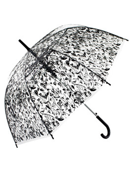 Black Printed Transparent Umbrella by Blooms Of London