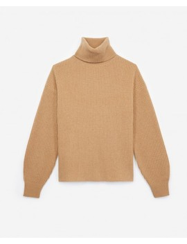 Side Split Long Turtleneck Sweater In Camel by The Kooples