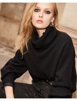 Short Black Turtleneck Sweater With Ribbing by The Kooples