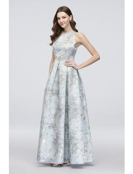 Floral Jacquard Sleeveless Ball Gown With Pockets by Alex Evenings