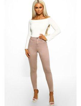 Meet Me Halfway Nude Skinny Jeans by Pink Boutique