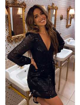 Stephsa Black Sequin Wrap Dress by In The Style