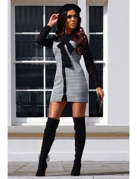 So Designer Black Dogtooth Check Pussy Bow Mini Dress by Pink Boutique