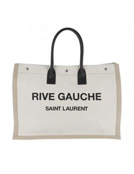 Rive Gauche Tote Bag Linen Leather White/Black by Saint Laurent