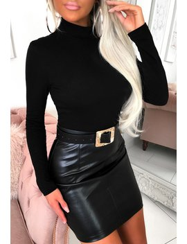 Glam Gal Black Pu Long Sleeve Mini Dress by Pink Boutique