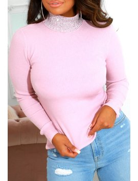 Sparkle Sweetheart Stretchy Pink Jewel Turtle Neck Jumper by Pink Boutique