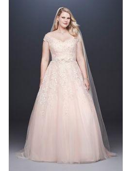 Off The Shoulder Applique Plus Size Wedding Dress by David's Bridal Collection