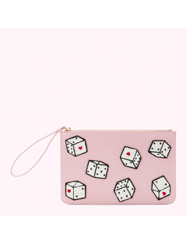 Blossom Pink Leather Dice Grace Pouch by Lulu Guinness
