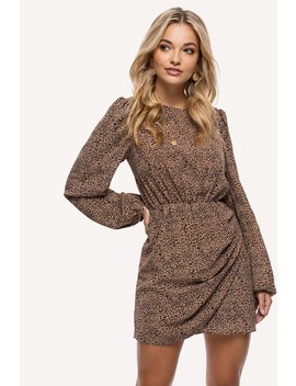 What She Said by Loavies Camel Leopard Print Dress