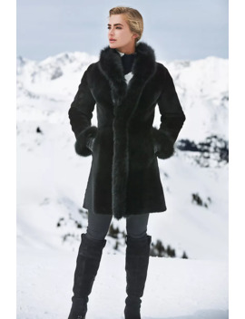Chantal Reversible Sheepskin Coat With Black Fox Fur Trim by Overland