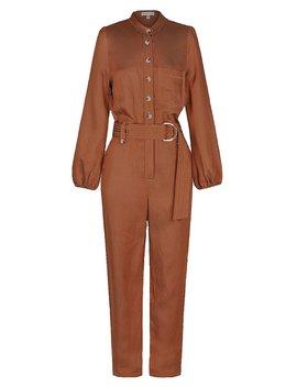 Ellington Linen Relaxed Jumpsuit   Cognac by Shona Joy
