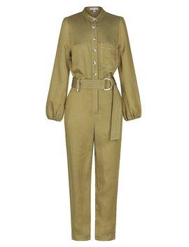 Ellington Linen Relaxed Jumpsuit   Olive by Shona Joy