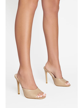 Lotti Square Peep Toe Mule In Beige Vegan Leather by Luxe To Kill