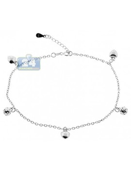 925 Sterling Silver Charm Womens Ankle Bracelet 10 Inches by 24diamonds