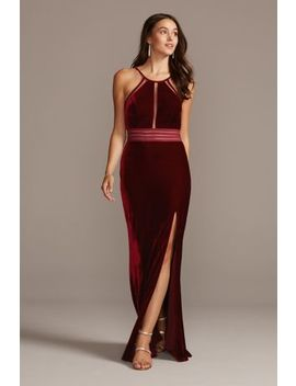 Stretch Velvet High Neck Gown With Sheer Details by City Triangles