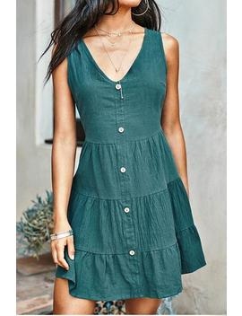 Green Front Button Sleeveless V Neck Dress by Cupshe