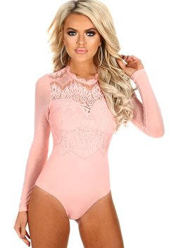 Sassy But Cute Pink Lace Long Sleeve Bodysuit by Pink Boutique