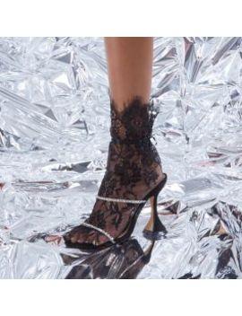 Dreams Diamante Detail Pyramid Heel Mule In Black Faux Suede by Ego