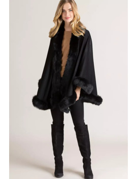 Jodie Cashmere Cape With Fox Fur Trim by Overland
