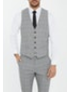 Grey Paxton Check Waistcoat by Connor