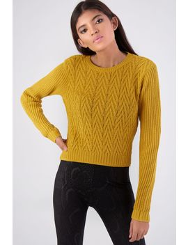 Mustard Chevron Stitch Jumper by Select