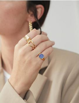 Blue Circle Gold Ring by Pixie Market