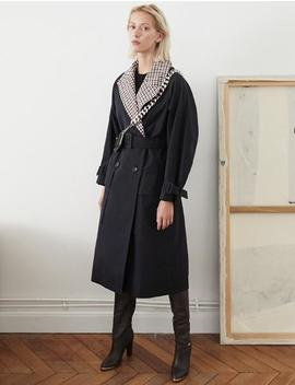 Navy Contrast Plaid Trench Coat by Pixie Market