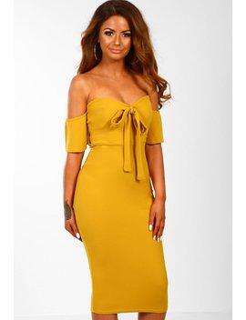 Knightsbridge Nights Mustard Bow Front Bardot Midi Dress by Pink Boutique