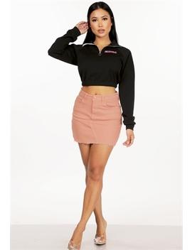 Distressed Denim Mini Skirt by Papaya