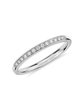 Petite Milgrain Diamond Ring In 14k White Gold by Blue Nile
