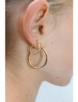 Gold Thick Double Hoop Earrings by Brandy Melville