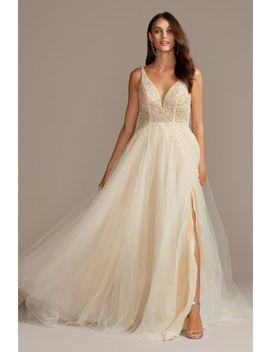Beaded Bodice Plunging V Illusion Wedding Dress by Galina Signature