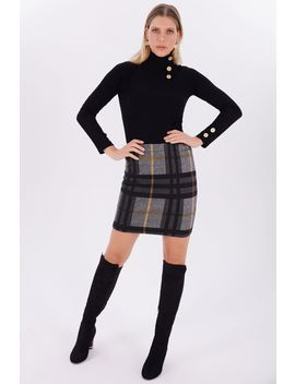 Mustard Brushed Check Mini Skirt by Select