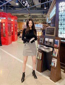 Soft Gingham Mini Skirt by Chuu