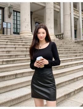 Autumn Feeling Leather Skirt by Chuu
