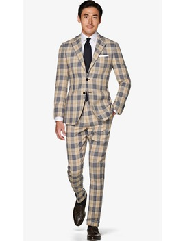 Jort Light Brown Check Suit by Suitsupply