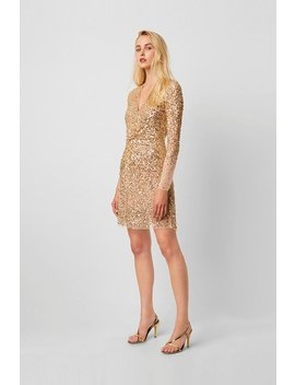 Emille Sequin Plunge Mini Dress by French Connection