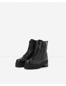 Boots Lacets Cuir Noir Semelle Crantée by The Kooples