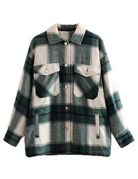 'winnie' Green Plaid Shirt Jacket by Goodnight Macaroon