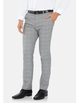 Grey Paxton Skinny Check Dress Pant by Connor
