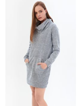 Mono Dogtooth Jacquard Cowl Neck Jumper Dress by Select