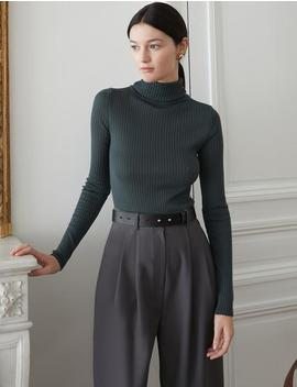 Dark Green Wool Ribbed Top by Pixie Market