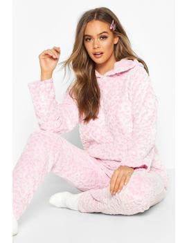Conjunto De Pijama De Leopardo Suave De Felpa by Boohoo