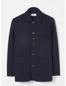 Universal Works Long Bakers Jacket In Navy Mowbray by Universal Works