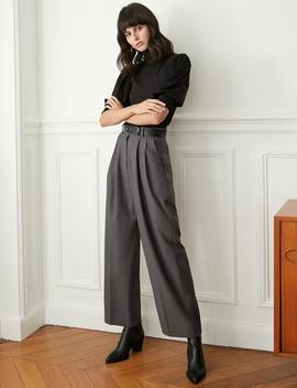 Grey Belted Pleated Pants by Pixie Market