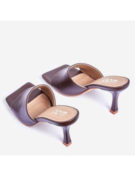 Hilton Square Peep Toe Kitten Heel Mule In Maroon Faux Leather by Ego