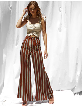 Caris Wide Leg Pants In Brown by Popcherry