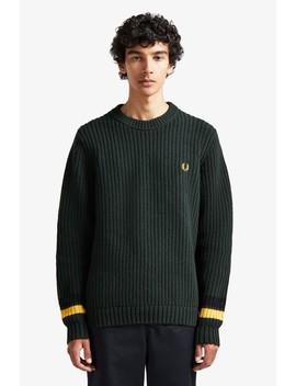 Bold Tipped Crew Neck Jumper by Fred Perry
