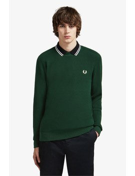 Waffle Texture Crew Neck Jumper by Fred Perry