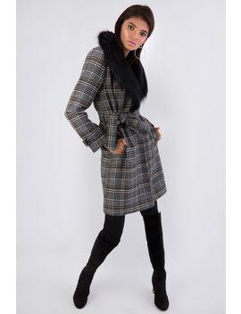Black Check Fur Collar Wrap Coat by Select